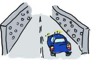 車の騒音を壁の孔で軽減